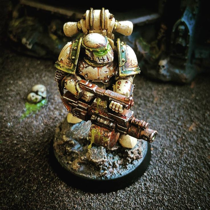 """11 Likes, 1 Comments - Caz Paul (@rebelwithacoz) on Instagram: """"Death Guard Plague Marine with Blight Launcher! #paintingwarhammer #miniaturepainting #40k…"""""""