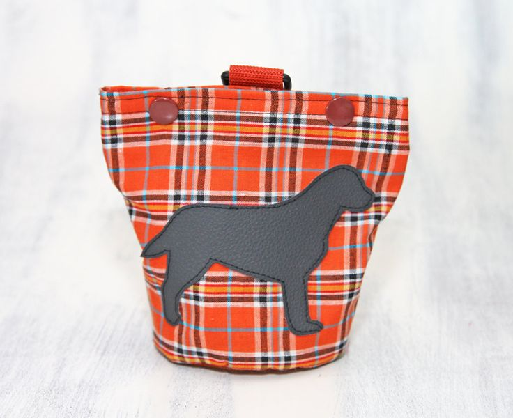 Futterbeutel Hund, Labrador, orange Karo, kariert