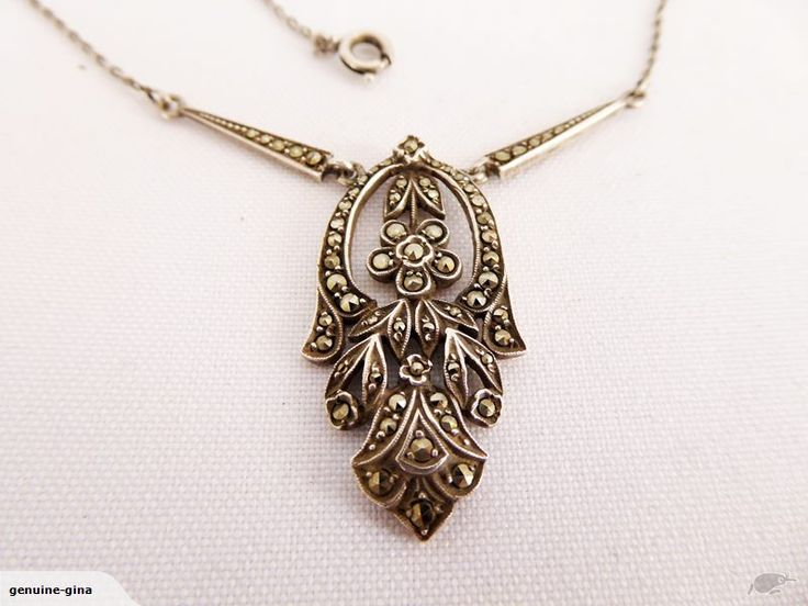 Art Deco Silver & Marcasite necklace 42.5 cm 7.06 grams