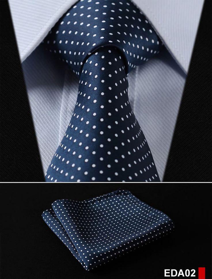 """Stripe 3.4"""" 100%Silk Men Tie Necktie Pocket Set"""
