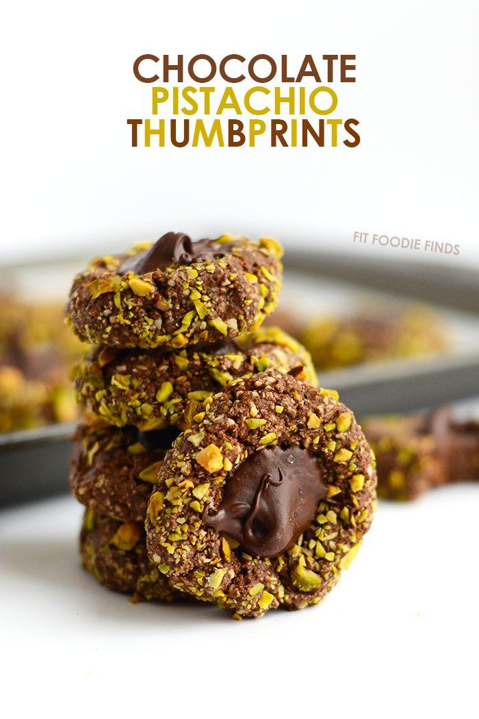 Thumbprint Cookies- Chocolate Pistachio #grain-free #gluten-fee #dairy-free