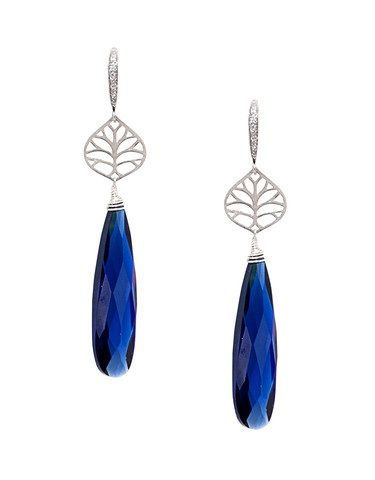 Long Navy CZ Teardrop Earrings - Ottawa Jewelry Store