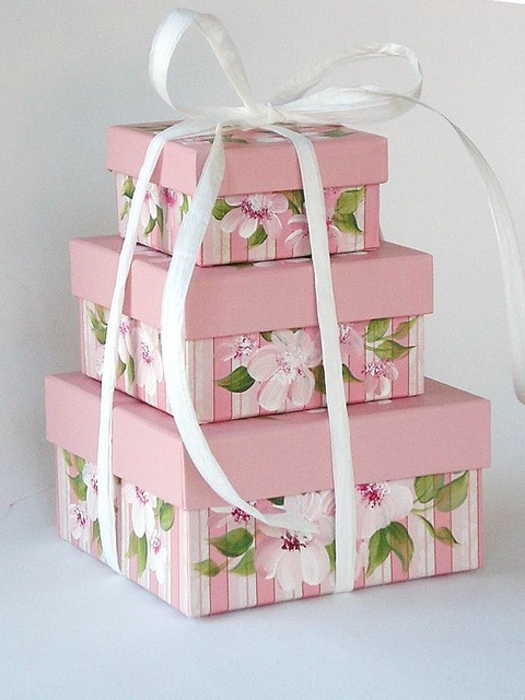 Hand painted pink stripey boxes by Hand Painted Petals