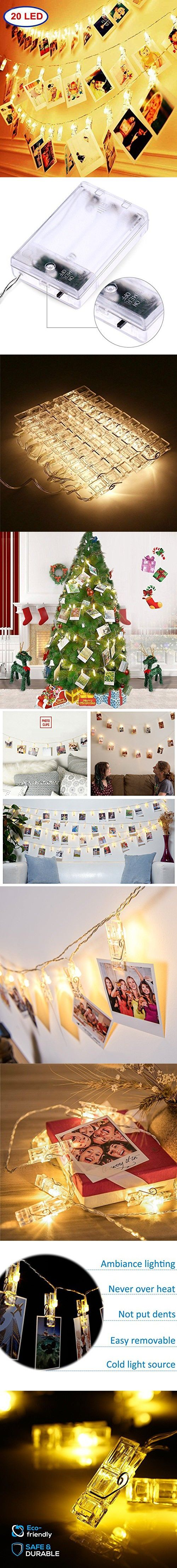 20 LED Photo Clip String lights 10 FeetChristmas Lights Starry light Wall Decoration Light Wedding Party Christmas Home Decor Lights for Hanging Photos Paintings Pictures Card and Memos(Warm White)