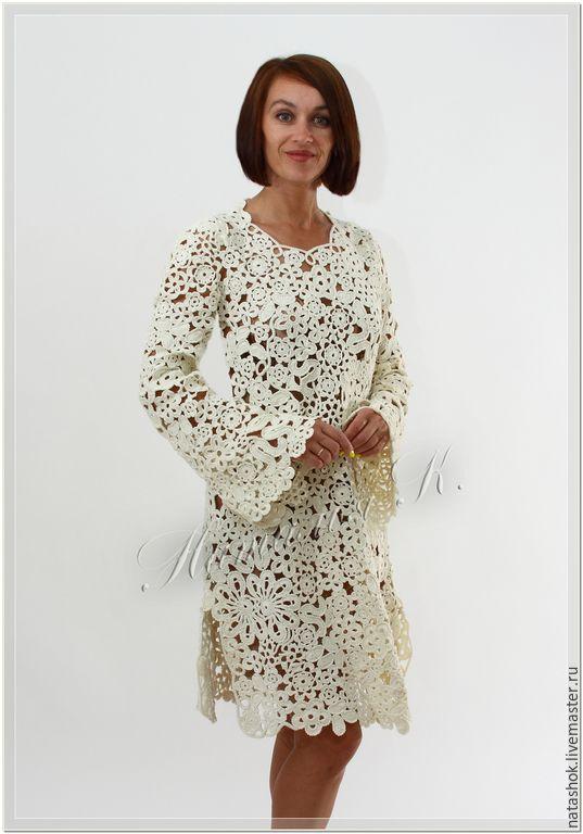 Купить Патриция - белый, платье, платье летнее, Платье нарядное, платье вязаное, платье коктейльное