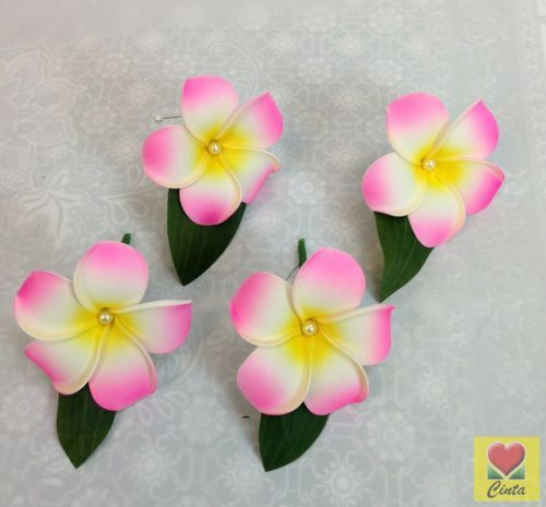 4-x-foam-pink-cream-yellow-frangipani-buttonhole-Flower-with-pearl