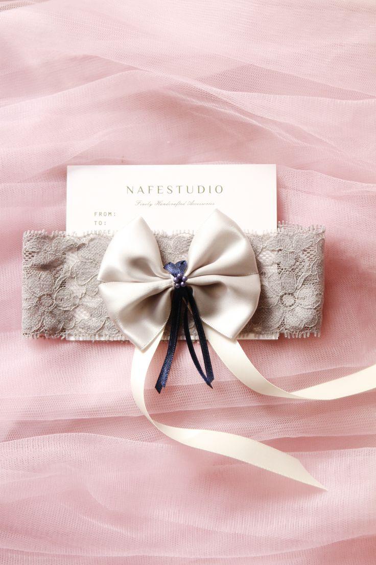 Bridal Garter Wedding Garter - Gray Grey Lace Bow Navy Blue Garter Belt - Something Blue Garter Vintage Inspired Wedding Garter