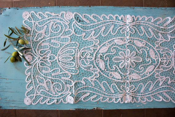 Vintage Lace Runner Table runner Venice Lace by BelladonaVintage