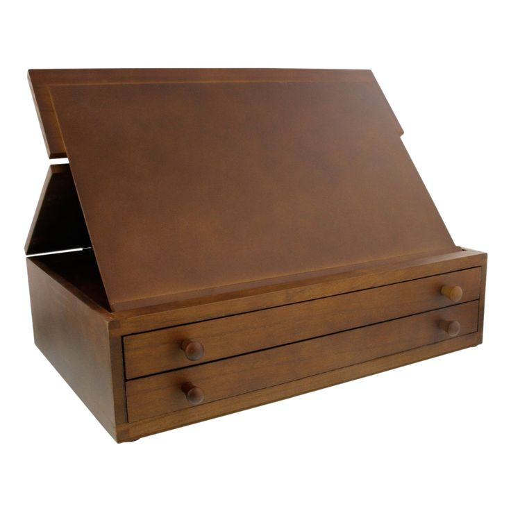 Us art supply walnut 2 drawer adjustable wooden storage for Wooden box storage ideas