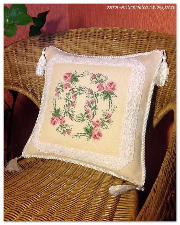 Остров рукодельного удовольствия.: Подушка из набора,,В стиле французского шика,,.