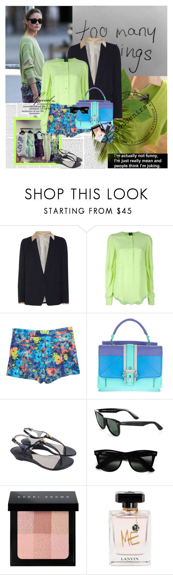 """Olivia Palermo"" by rainie-minnie ❤ liked on Polyvore featuring Band of Outsiders, McQ by Alexander McQueen, Paula Cademartori, Michael Kors, Ray-Ban, Bobbi Brown Cosmetics and Lanvin"