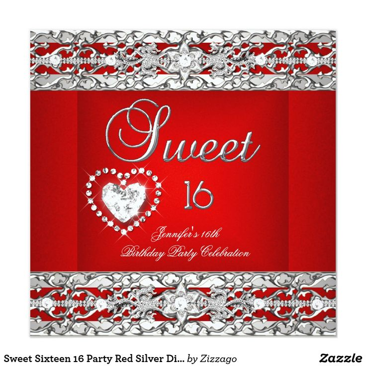 Sweet Sixteen 16 Party Red Silver Diamond Card Sweet Sixteen 16 Elegant Red Silver Diamond Birthday Party Any Age Teens Birthday Party Elegant. For girls. Zizzago Invitations. All Occasions Fabulous Elegant Events for Women, Girls, Party Invites for all ages, just customize to the age you want! 21st Birthday Party Invitations, 20th Birthday Party Invitations, 30th Birthday Party Invitations, 40th Birthday Party Invitations, 50th Birthday Party Invitations, 60th Birthday Party Invitations…
