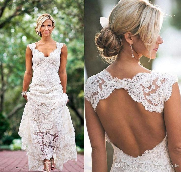 Discount 2017 Full Lace Beach Dress For Wedding Dresses Country Style Pluging V Neck Cap Sleeves Keyhole Back A Line Vintage Bridal Gowns Vestios 05 Cheap Wedding Dresses Uk Colored Wedding Dresses From Standbymebride, $90.46| Dhgate.Com