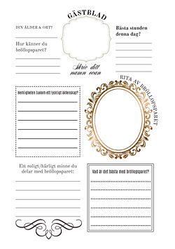 Gästblad på bröllop / For every guest to fill in, instead of a guest book. Also available in English!