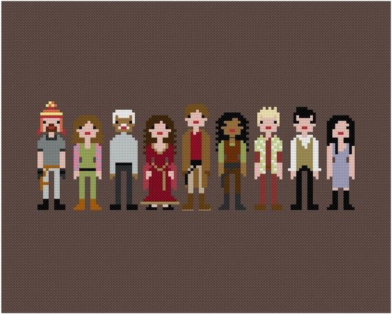 Firefly crew, pixelized for our viewing pleasure in embroidery floss. #etsy