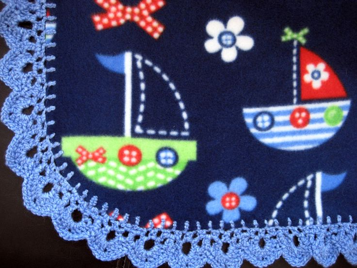 crotchet edges for baby blankets | onto a fleece baby blanket fleece baby blanket w crocheted edging 30 ...