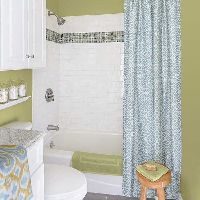 Bathroom Tub And Shower Tile Ideas: White Subway Tile Shower With Mosaic Tile Surround Accent