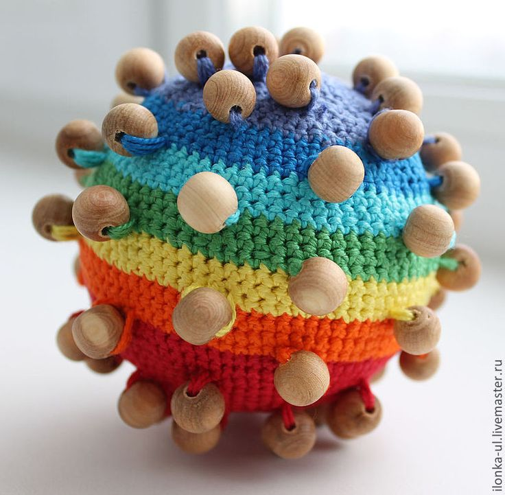 Купить Тактильный мячик - мячик, развивающий мячик, развивающий, вязаный мячик, тактильная игрушка, мяч