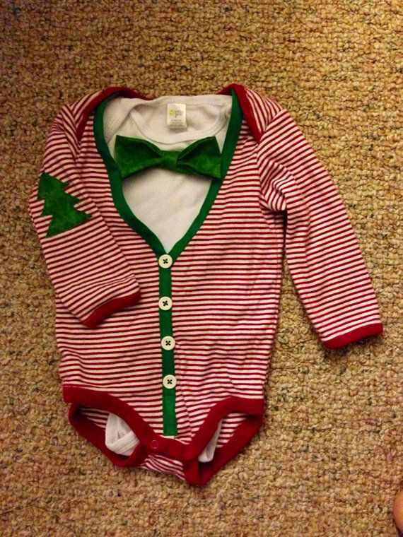 Baby first Christmas cardigan bow tie onesie set with by HoneyCubs, $30.00