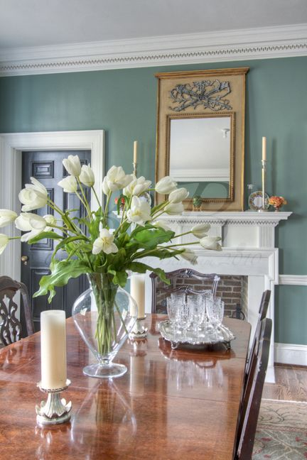 Wall color, appropriate to 1930's era, with white trim and gold accents