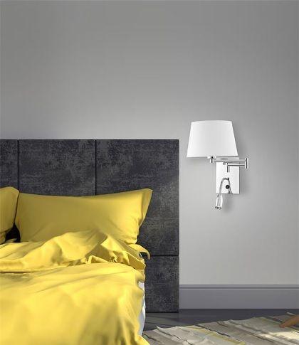 Απλίκα LED #επίτοιχη από μέταλλο με υφασμάτινο καπέλο. Περιλαμβάνει ενσωματωματωμένο #LED σε θερμό λευκό και δέχεται ακόμα έναν λαμπτήρα τύπου Ε27. Για μεγαλύτερη οικονομία στην κατανάλωση ενέργειας προτείνουμε να επιλέξετε λαμπτήρες LED: http://kourtakis-lighting.gr/35-lamptires-led-E27