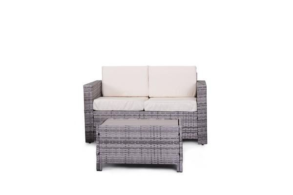 Eden Rock Collection - Designer Outdoor Garden Patio 2-Piece Waterproof Cushion Rattan Wicker Loveseat Chair and Coffee Table Furniture Set.