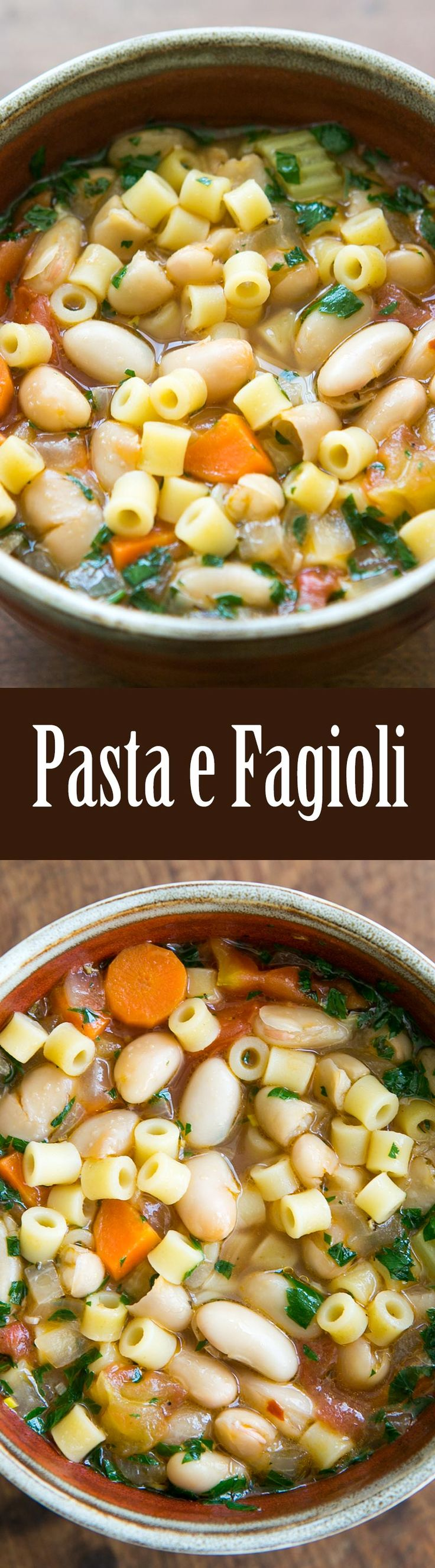 Pasta e Fagioli - A classic Italian dish of beans and short pasta with tomatoes and vegetables. So GOOD!