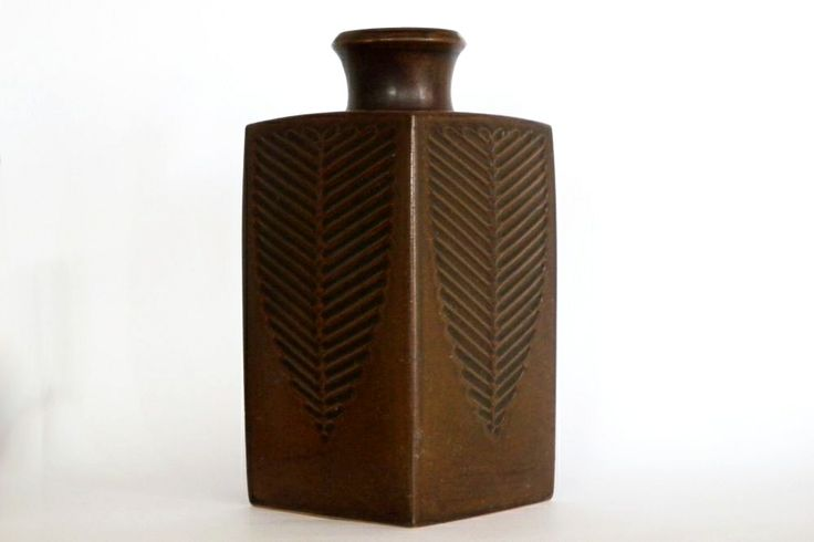 NAUTIL square bottle vase by Erik Reiff for Knabstrup Keramik, Denmark, late 1960s