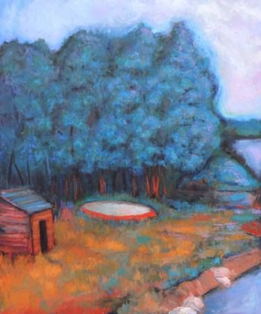 "Saatchi Art Artist Massimiliano Ligabue; Painting, ""Fishermen's hut on the bank of the Adda river"" #art"