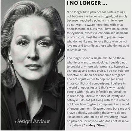 Meryl Streep Famous Quotes i no longer | snopes.com: Meryl Streep on Patience