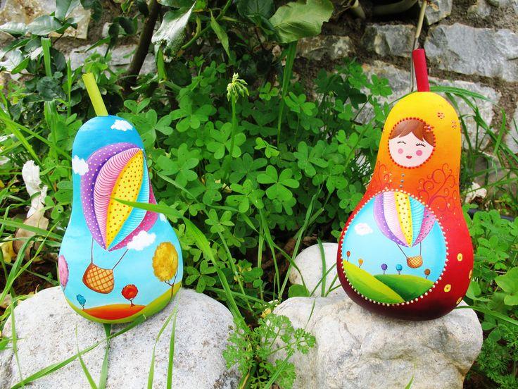 air balloons, wooden money box, pear, handmade, painting, acrylics www.facebook.com/SofiaFileasArt