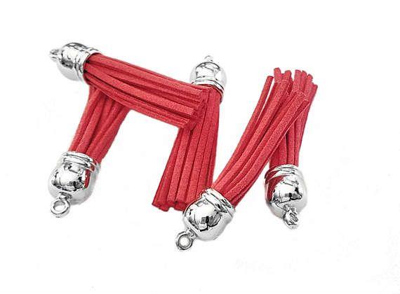 Tassel  10 Orange Red Long Tassels  58 mm  Silver Cap