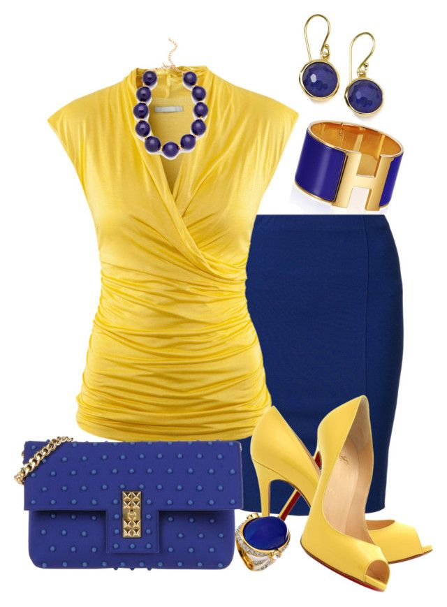 """""""Yellow & Blue"""" by marisol-menahem ❤ liked on Polyvore featuring Filippa K, H&M, Christian Louboutin, La Fille Des Fleurs, Kenneth Jay Lane and Ippolita"""