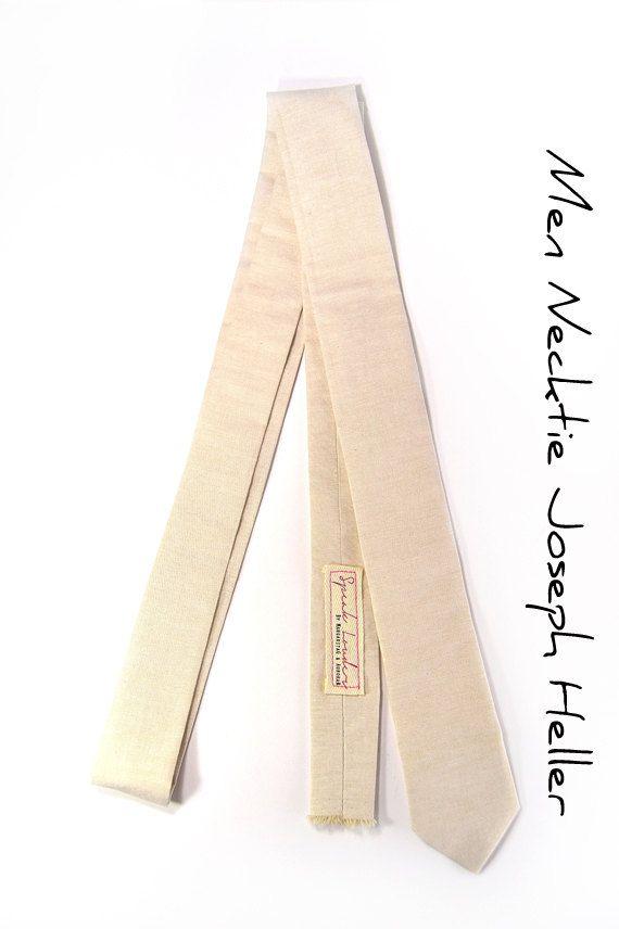 Khaki chambray necktie - Wedding Mens Tie Skinny Necktie Joseph Heller - Laid-Back necktie