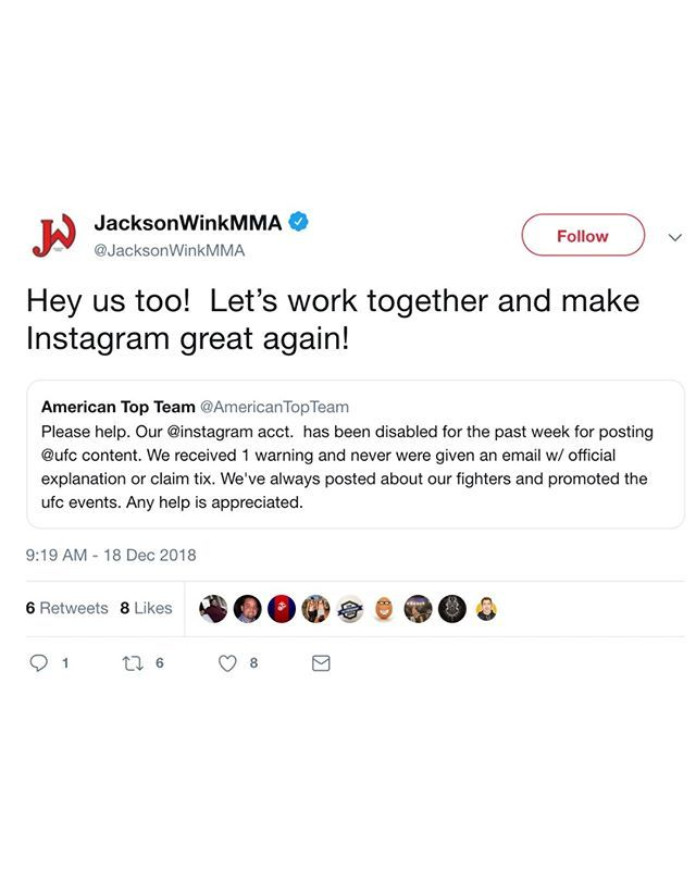 If You Followed American Top Team Or Jacksonwink On Instagram You Might Have Noticed Their Accounts Are Down Both Gyms Say They Fe Mma Gym Might Have American