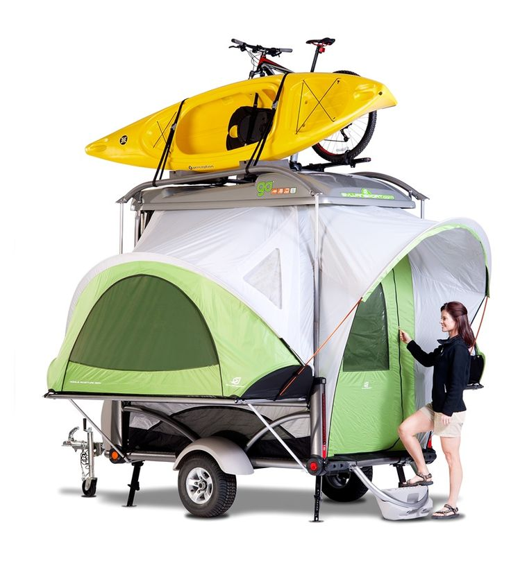 GO in Camping Mode with Boat and Bike Covered entrance into GO. www.sylvansport.com