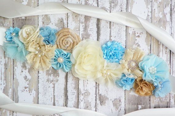 Blue Rustic Maternity Sash, Blue Ivory Sash, Burlap Bridal Belt, Baby Shower Sash, Gender Reveal, Belly Band, Its a Boy, Baby Photo Prop