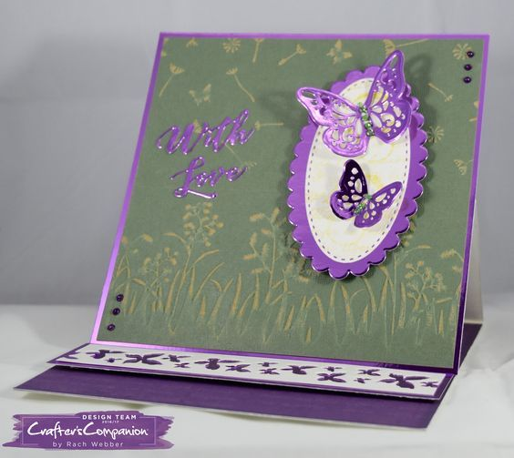Easel Card made using Sara Signature Flutterby Collection – Summer sprigs & Scattered in the Wind embossing folders, Arrangement of Wings, Simplistic Sentiments & Trio of wings dies. Designed by Rachel Webber #crafterscompanion