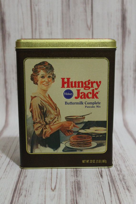 Collectible Vintage Hungry Jack Pancake Mix Bisquick Kitchen Decor Decorative Tin Advertisement