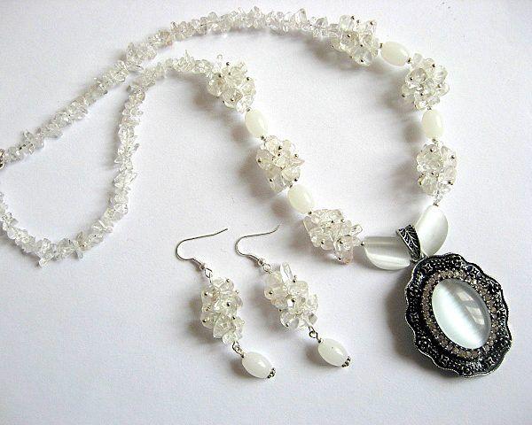 Colier si cercei set bijuterii ochi de pisica si cristal de stanca - idei   cadouri femei - ocazie - pietre semipretioase