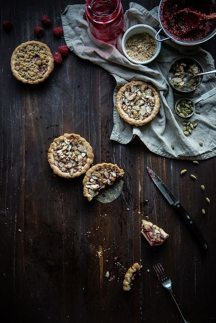 Raspberry Cardamom Almond Tarts by Two Red Bowls