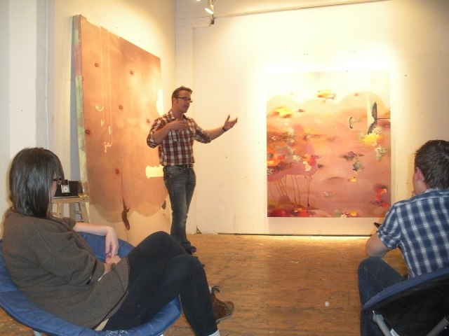 Mark Mullin speaking to Pivot Glenbow members in his studio as part of Encounter the Arts Series launched at Glenbow #sceneyyc