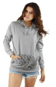 Crooks & Castles Clothing, Squadlife Women's Hooded Pullover Sweatshirt - Heather Grey