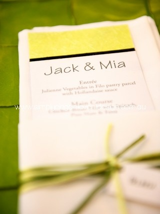 DL menus can also double as place cards with your guests names on top of each menu
