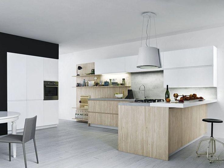 Fitted kitchen with peninsula without handles MILA 01 by CESAR ARREDAMENTI | design Gian Vittorio Plazzognawww.gelosaarredi.it www.gelosaarredi.com www.interiordesignitaly.com #interiordesignitaly #italianfurnishings#italianfurniture#Kitchen #design
