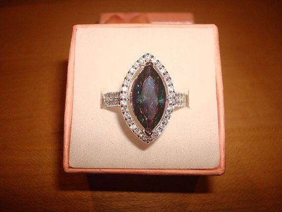 Marquise Cut Mystic Rainbow Topaz And White by beeniesjewels