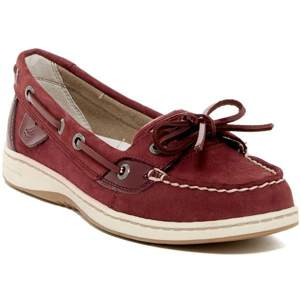 Sperry Angelfish Micro Dot Boat Shoe ($50) ❤ liked on Polyvore featuring shoes, loafers, burgundy, lace up shoes, topsider shoes, rubber sole shoes, sperry and sperry footwear
