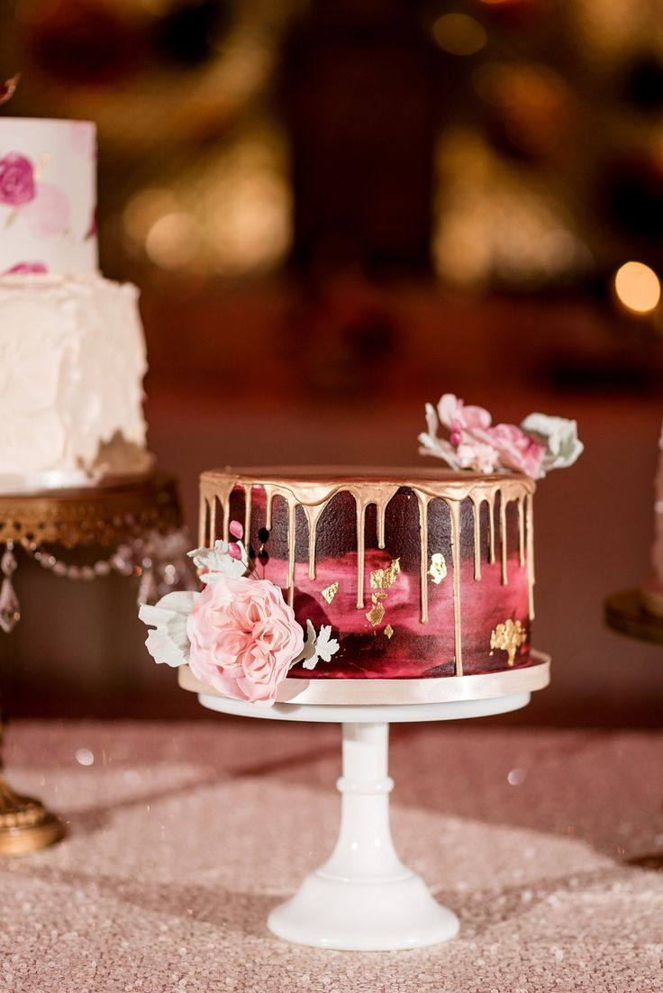 water color gold drip cake. watercolor buttercream, gold leaf, gold drizzle, sugar flowers, cabbage rose, cranberry, blush