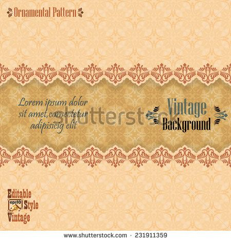 Vintage background with divider and beautiful arabesque, useful for greeting and luxury postcard; ornamental pattern template in design, decorative page cover. - stock vector