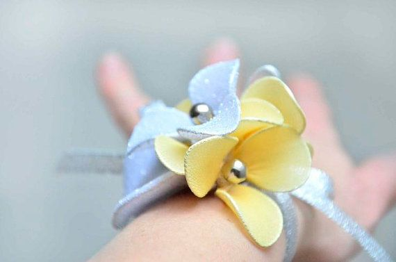 Silver and yellow wrist Bridal wrist band Wrist corsage Bridesmaids wrist Mother of the bride Flower wrist Wedding accessories available at www.myartdeco.co
